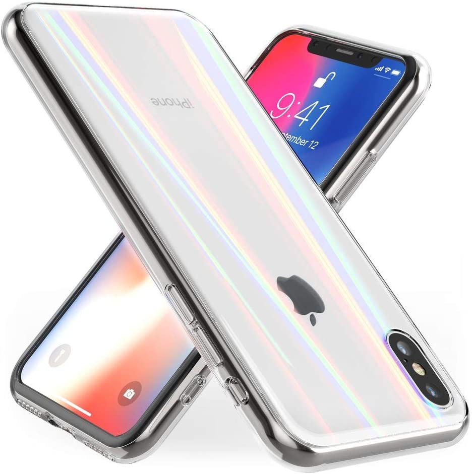 NALIA Tempered Glass Case Compatible with iPhone X/XS, Protective Iridescent Holographic Hard Cover with Silicone Bumper, Shockproof & Scratch-Resistent Back Protector, Color:Transparent