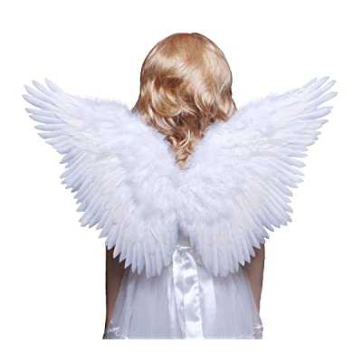 FashionWings (TM Children's White Butterfly Style Costume Feather Angel Wings Halo: Toys & Games