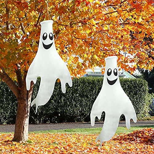 Starrky Halloween Ghost Windsocks Hanging Decorations Flags, 2PCS 43 Inches Halloween Windsock Outdoor Hanging Decoration for Front Yard Patio Lawn Garden Party Decor