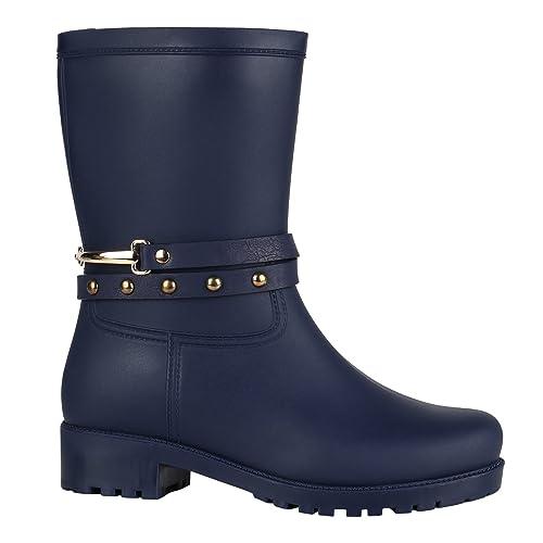 buy online 43dd2 622fb Stiefelparadies Damen Gummistiefel mit Blockabsatz Lack Profilsohle Flandell