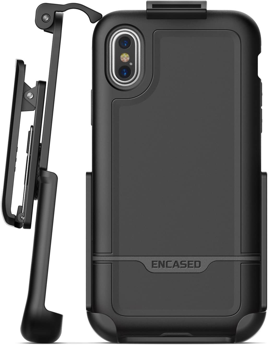 Encased Clip Holster iPhone X/iPhone Xs Belt Case, (Rebel Series) Heavy Duty Protective Cover Compatible with Apple iPhone X (Black)