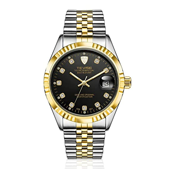 2bd256a55923 TEVISE 629-001 Hombres del Estilo del Negocio Reloj mecánico automático  Reloj de Aguja Reloj de Pulsera de Acero Inoxidable Impermeable de Lujo   Amazon.es  ...