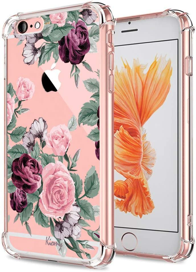 iPhone 6 Plus 6S Plus Case for Girls Floral Shockproof Protective Back Cover Clear with Cute Flowers Design Flexible Slim Fit Rubber TPU Cell Phone Cases for Apple iPhone 6 Plus 6S Plus 5.5 Inch Women