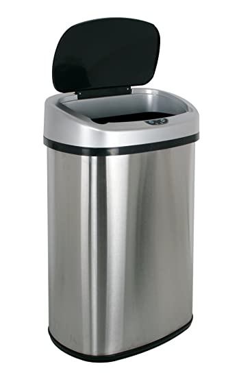 BestOffice Trash Can, 13 Gallon Stainless Steel Touch Free Sensor Trash Can  With Automatic