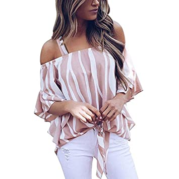 f1de8e5459087 HighlifeS Women s Striped 3 4 Bell Sleeve Off The Shoulder Front Tie ...