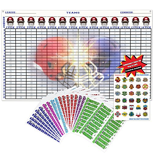 "Draft Equipment - 2018 Fantasy Football Draft Kit Complete | Jumbo Color Draft Board 60"" x 36""