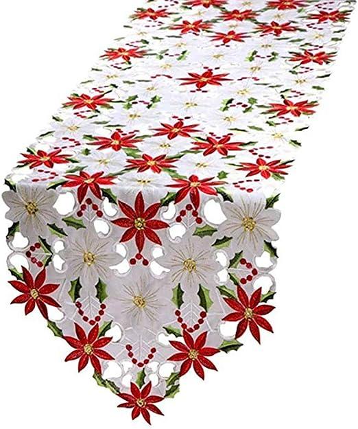 Sitonelectic Caminos de mesa bordados de Navidad, mantel ...