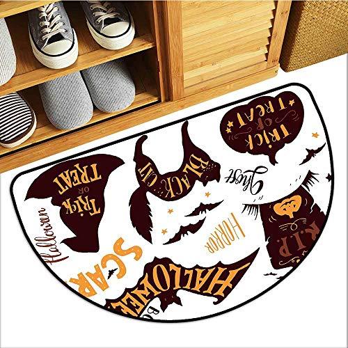 Axbkl Entrance Door mat Vintage Halloween Halloween Symbols Trick or Treat Bat Tombstone Ghost Candy Scary Easy to Clean Carpet W24 xL16 Dark Brown Orange -