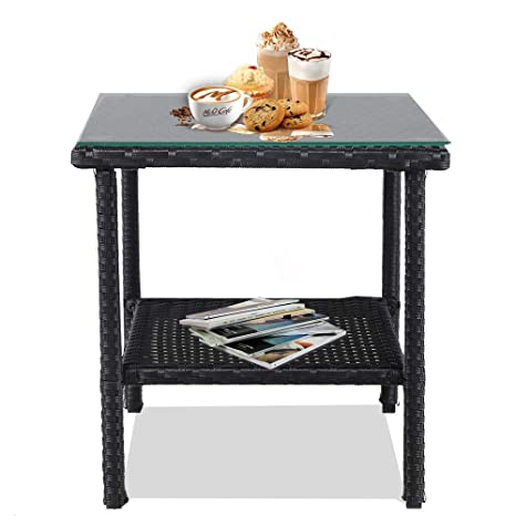 Incredible Leaptime Patio Side Table Coffee Tables Tea Table Outdoor Indoor Square Table Small Deck Table With Black Rattan Glass Top Home Remodeling Inspirations Genioncuboardxyz