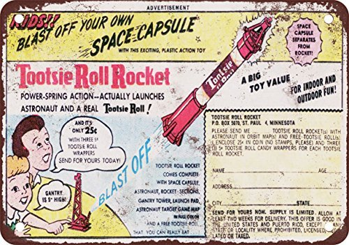 1963 Tootsie Roll Rocket Vintage Look Reproduction Metal Tin Sign 8X12 Inches