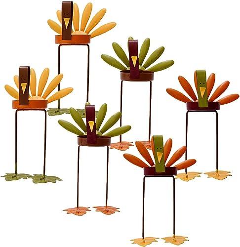 Kilipes Set of 6 Thanksgiving Candles Holders Turkey Tea Light Candleholders Tabletop Decorative Metal Turkey Tealight Candle Holder Autumn Fall Thanksgiving Holiday Decoration 6