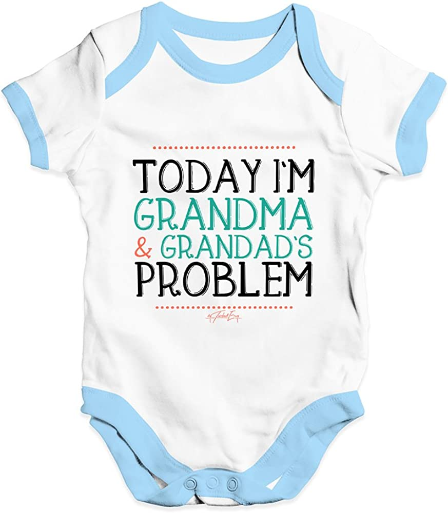 TWISTED ENVY Today Im Grandma and Granddads Problem Baby Unisex Funny Baby Grow Bodysuit