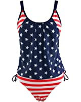 Women's Bikini Stripes Lined Up Double Up Tankini Top Swimwear Swimsuit Set