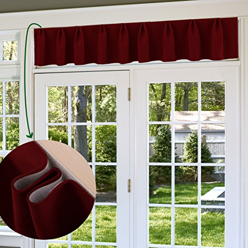 Blackout Valance Panel Window Treatment - NICETOWN Adjustable Curtain for Living Room, 1 Piece, Burgundy Red, Fitting 62