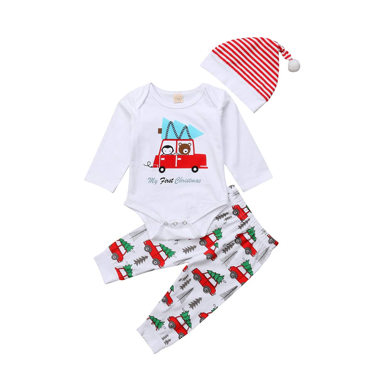 c3ada4bde Amazon.com: Lamuusaa Newborn Toddler Baby Girl/Boy Christmas Outfit My  First Christmas Romper Bodysuit + Cartoon Pants + Striped Hat Set: Clothing