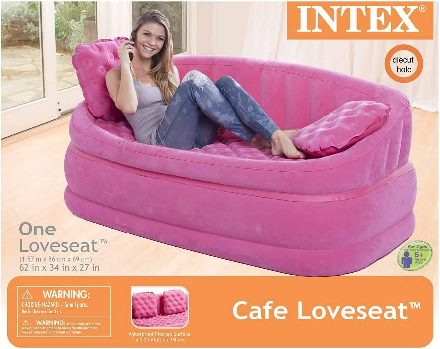 Intex Inflatable Pink Cafe Loveseat 2 Inflatable Pillows