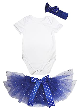 39aa3fb88825 Amazon.com  Petitebella Plain White Romper Stars Blue Baby Bloomer ...