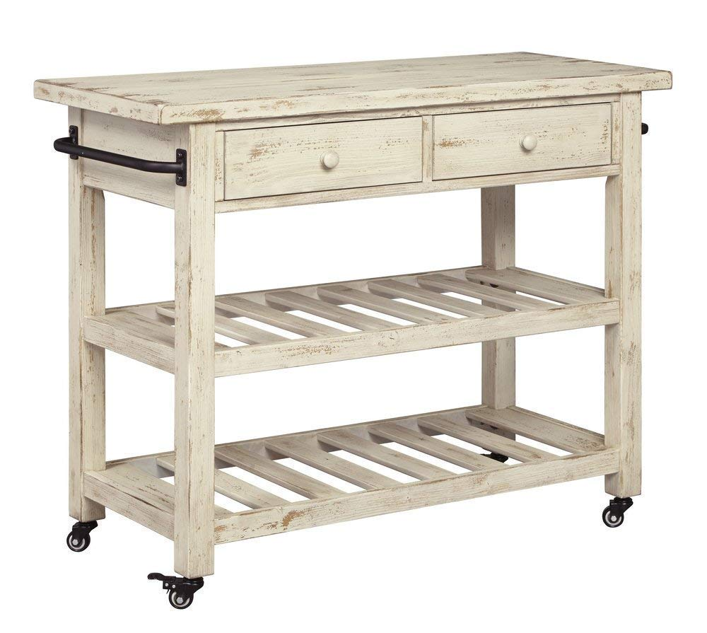 Marlijo Rustic White Kitchen Cart