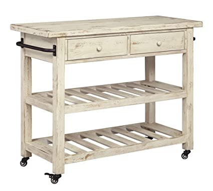 Signature Design By Ashley Marlijo Kitchen Cart Rustic White