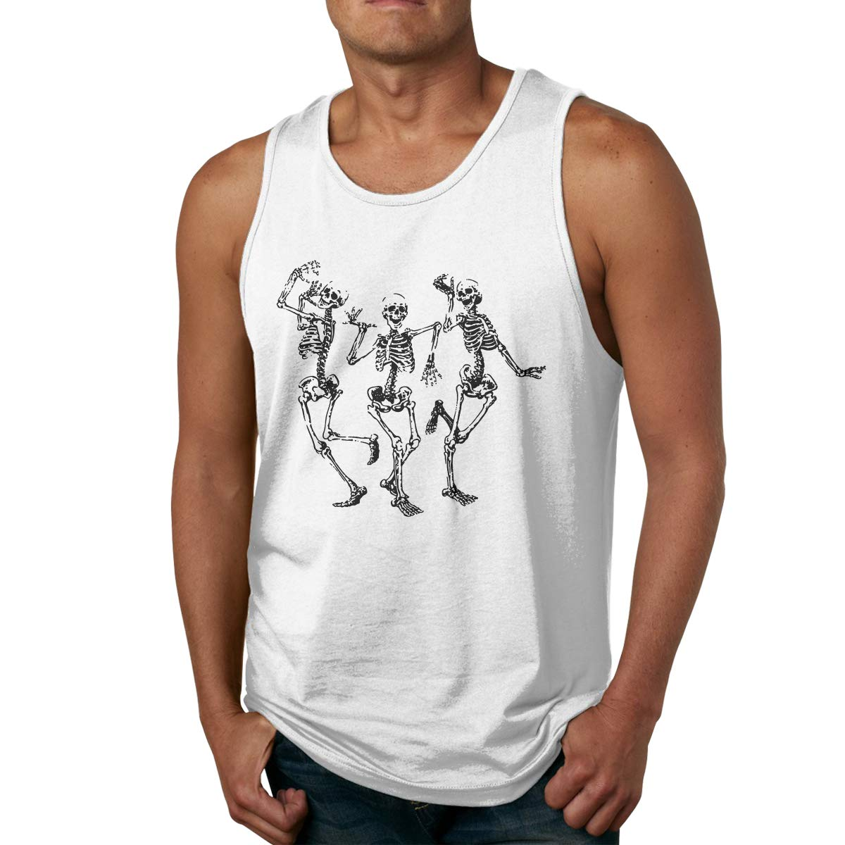 LLXM Halloween Skull Men Printed Vest Sports Tank-Top Tees Leisure T-Shirt Sleeveless Shirts
