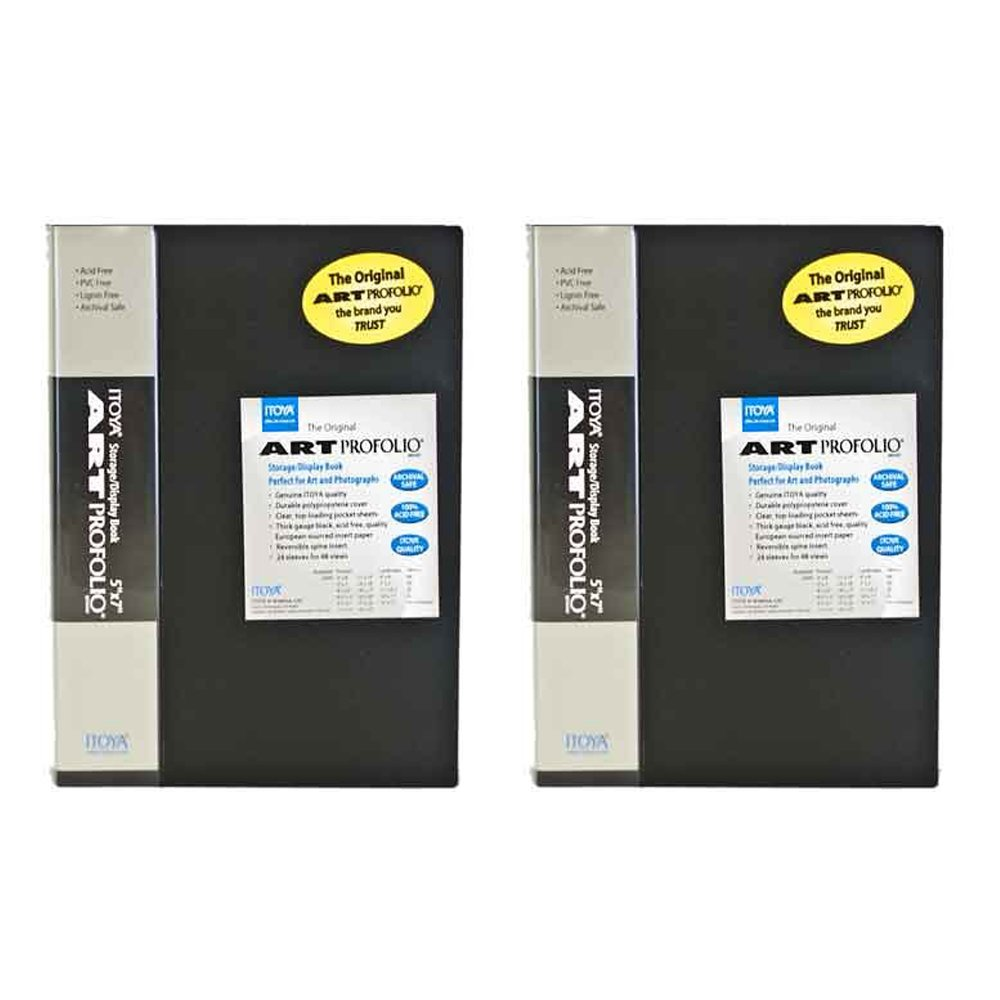 Itoya IA-12-14 The Original Art Profolio Vertical 14x17in. Art 24 Sheets 48 Pictures (Black) (2 Pack)