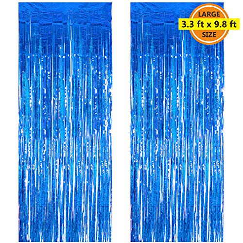 2 Pack 3.3 ft x 9.8 ft Foil Curtains Metallic Fringe Curtains Shimmer Curtain Photo Backdrop for Halloween Christmas Birthday Party Wedding Decor (Blue) -
