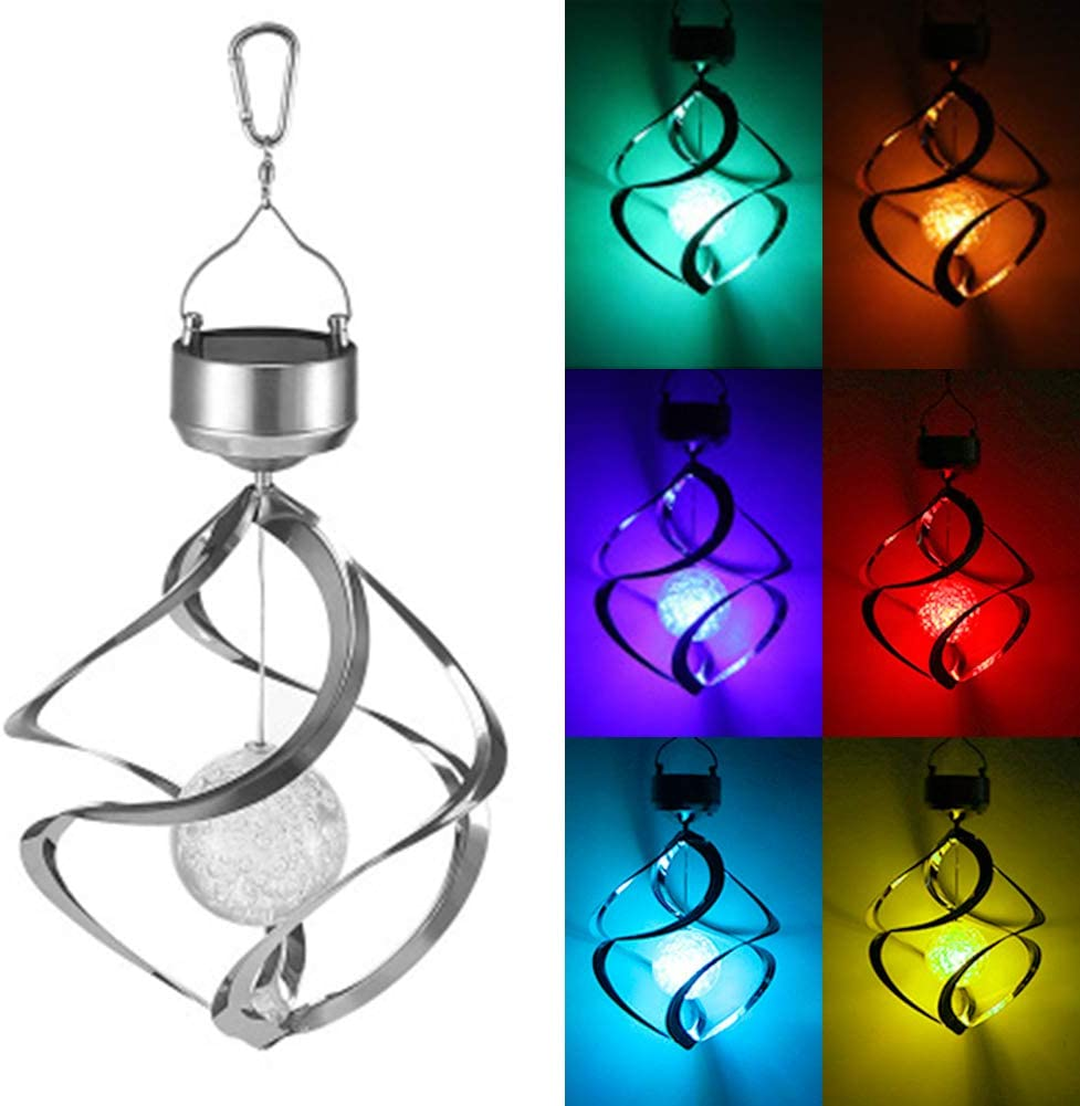 MorTime LED Solar Revolving Wind Chimes Hanging Spiral Solar Lights Outdoors