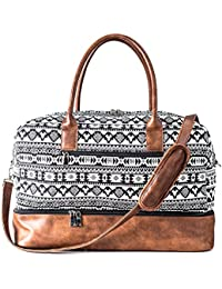 Canvas Weekender Bag, Overnight Travel Carry On Duffel with Shoe Pouch