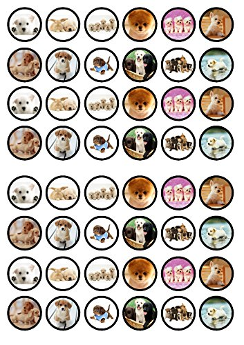 48 Puppies Dogs Edible PREMIUM THICKNESS SWEETENED VANILLA,