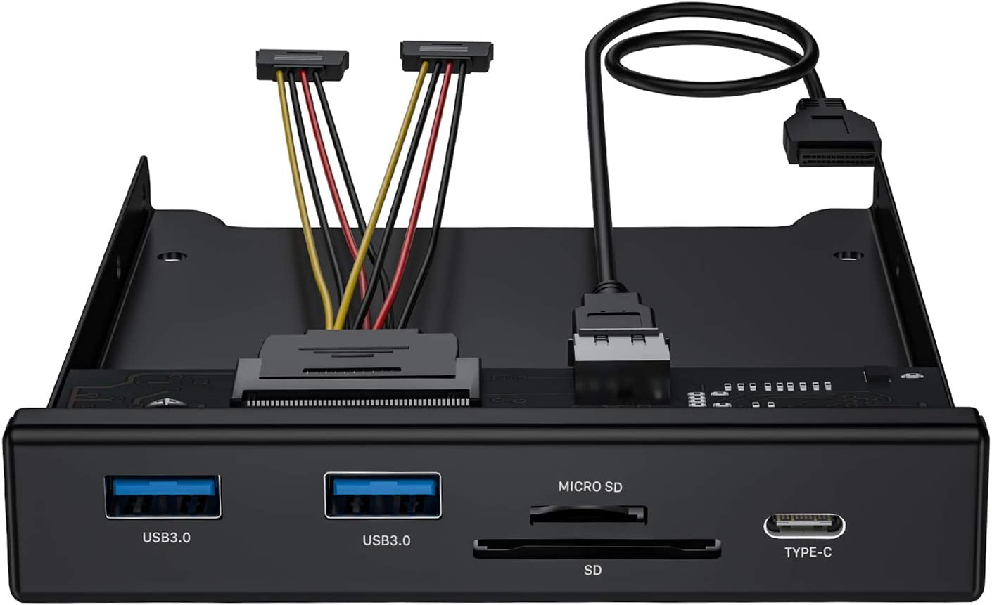 BYEASY Front Panel USB 3.0 Hub 5 Ports, 3.5 Inches Internal Metal USB Hub with 2 USB 3.0 Ports, SD/TF Card Reader and USB 3.1 Gen 1 Type-C Port Fits Any 3.5