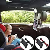 """FUTESJ Rotated Car Seat Headrest Mount, Universal Car Tablet Holder Bracket for iPad, Samsung Galaxy, Nintendo Switch and Other 4""""-11"""" Smartphones and Tablets(Black)"""