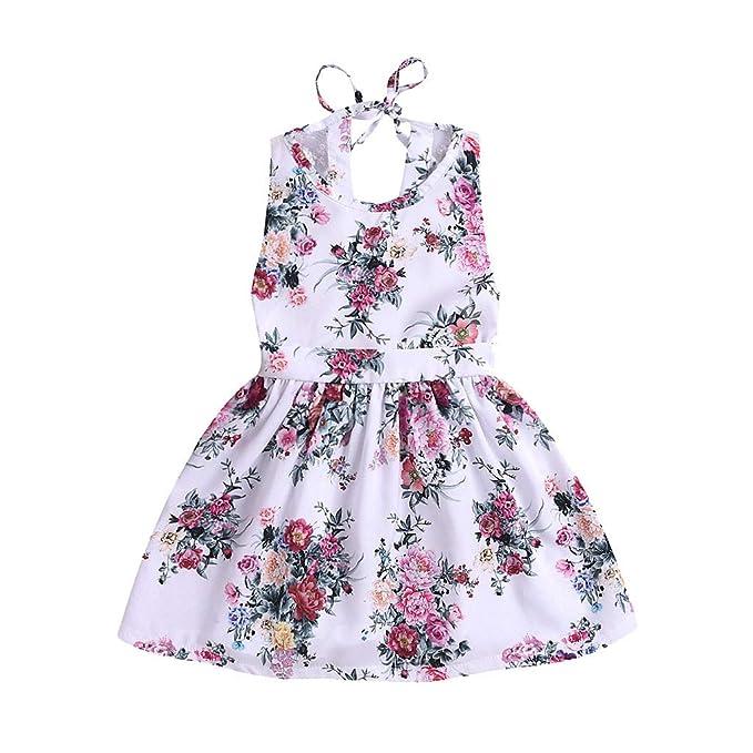 d3f10e7ceab3 Bambino Ragazza Moda Casuale Carina Floreale Stampare Senza Maniche  Backless Vestito