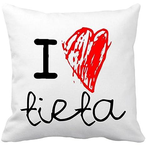 Cojín con relleno I Love tieta - Blanco, 35 x 35 cm: Amazon ...