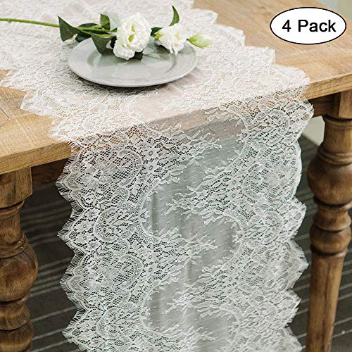 (4pcs Lace Table Runner 14 x 120 Inch for Rustic Boho Wedding Decorations Baby Bridal Shower Decor, White Classy Vintage Rose Embroidered Table)