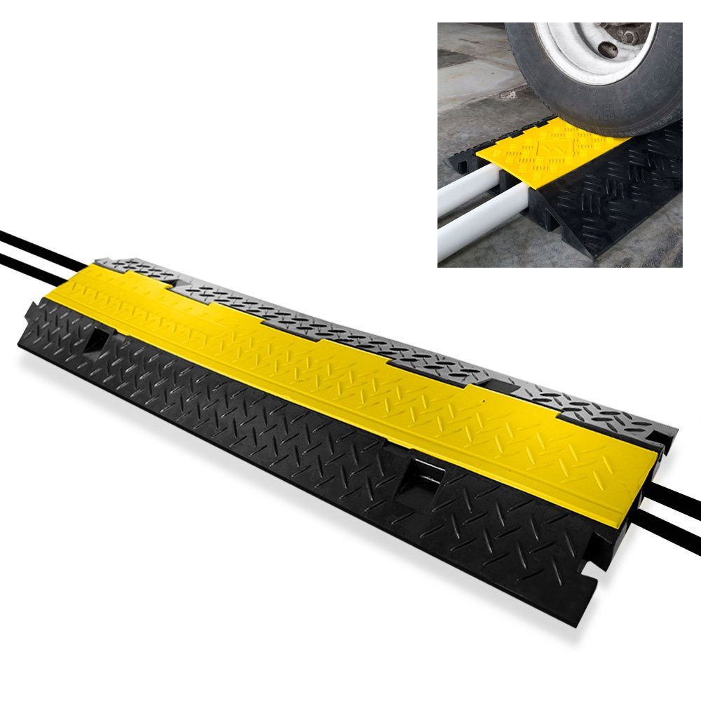"Durable Cable Protective Ramp Cover - Supports 44000lbs Dual Channel Heavy Duty Cord Protection w/Flip-Open Top Cover, 39.4"" x 9.64"" x 1.57"" Cable Concealer Indoor Outdoor Use - Pyle PCBLCO103"