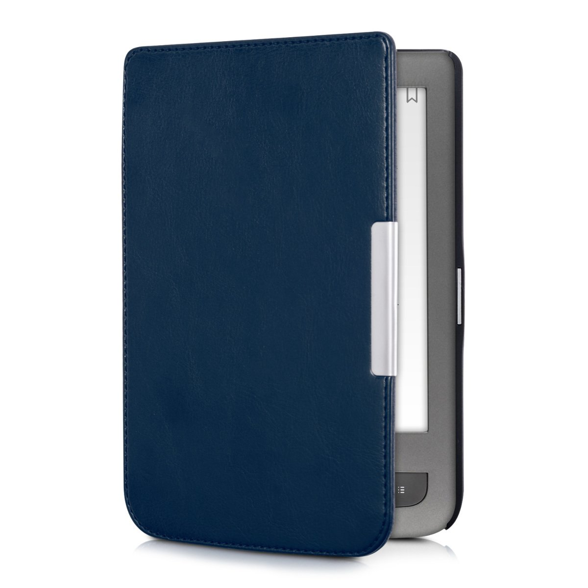 kwmobile Case for Pocketbook Touch Lux 3/Basic Lux/Basic Touch 2 - Book Style PU Leather Protective e-Reader Cover Folio Case - Dark Blue