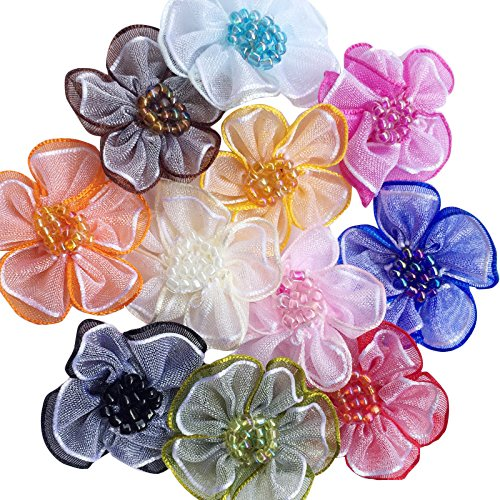 (Chenkou Craft 40pcs Organza Ribbon Flowers with Beads Appliques (Mix))