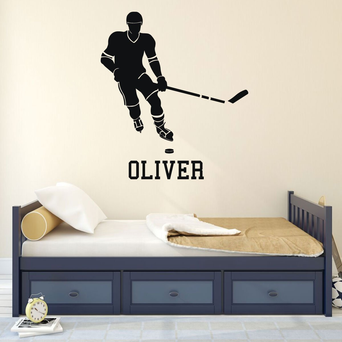 Personalized Hockey Player Vinyl Wall Decal with Custom Name, Color, and Size Options - Team Gift Idea