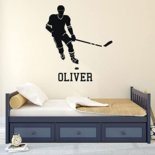 Amazon Com Personalized Hockey Player Vinyl Wall Decal With Custom Name Color And Size Options Team Gift Idea Handmade