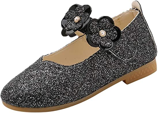 Fashion Baby Girl Flower Crystal Princess Shoes Lace Leather Dance Ballet Shoes