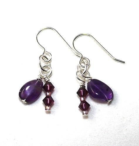 Amethyst earrings,crystal earrings,boho earrings,fashion earrings,surgical steel hooks,stones,rocks,gems,minerals,hypoallergenic earrings
