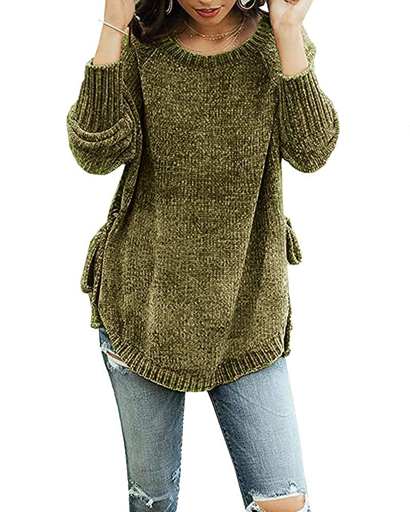 Womens Pullover Sweaters Plus Size Cable Knit Crew Neck Long Sleeve Split Side Tie Knot Fall Jumper Tops