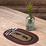 Set of 6-12 x 18 Brown Moose Lodge Theme Kitchen Placemat, Red Oval Animal Print Pattern Dining Room Table Placemats Linens Place Mats, Country Style Cabin Cottage Southwest Rustic Hunting, Lace