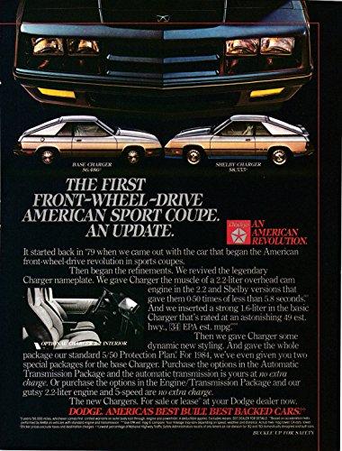 1984 Dodge Shelby Charger+Base Model-2.2 Liter-0-50 5.8 Secs Original Magazine Ad