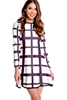 LOLLI COUTURE STRIPE ROUND NECKLINE LONG SLEEVE CASUAL DRESS