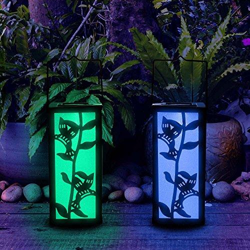 Hanging Lantern Color Changing Christmas Decoration Solar Hummingbird Garden Outdoor Light For