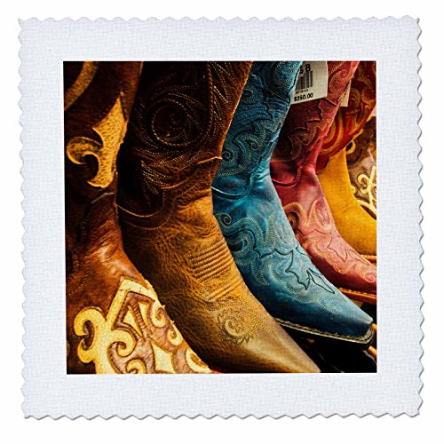 3dRose Danita Delimont - Scottsdale - Arizona, Old Scottsdale, Line up of new cowboy boots - 12x12 inch quilt square - Scottsdale Square