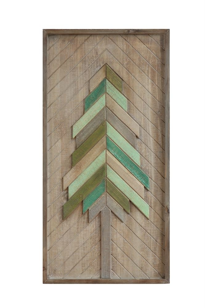 First of a Kind 31-1/2''H Wood Wall Décor, Layered Christmas Tree,Natural & Green Perfect Addition to your Holiday Decorating