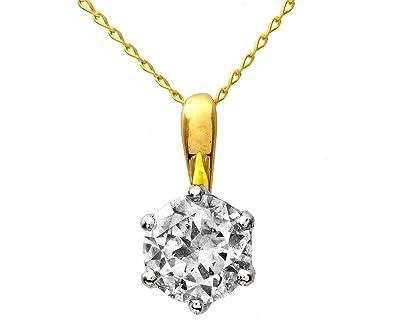 Zertifikat 18 Karat (750) Bicolor Gold Solitär Diamant Anhänger + ...