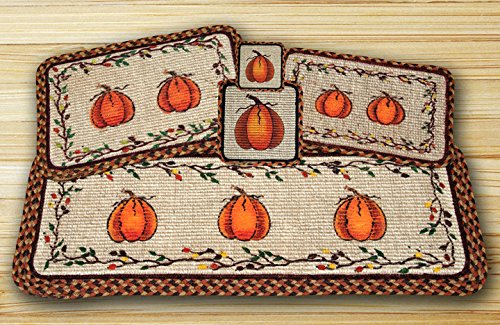 Harvest Pumpkin Wicker Weave Table Top Set - 12 Piece